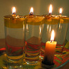 DIY shot glass Chanuka lamps by the author