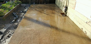 Newly laid concrete patio