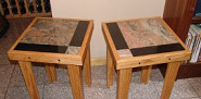 Custom wood and granite tile tables built by the author, Kevin Stevens of KMS Woodworks in Nederland, CO.