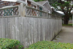 weathered redwood fence