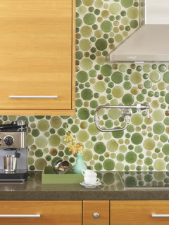 Creative glass tile backsplash