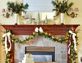 Mantel design and photo by At the Picket Fence (atthepicketfence.com)