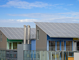 Photo of reflective roofing on energy-efficient housing by peart/istockphoto.com.