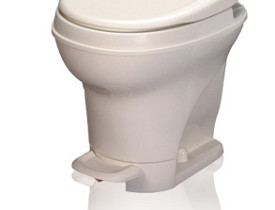 A foot flush toilet by Thetford