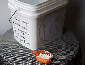My DIY laundry detergent recipe is right here on the side of the pail. --Sayward
