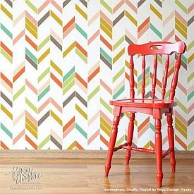 A striking herringbone wall pattern. Photo: Royal Designs/Hometalk