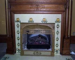 White hand painted tiles for fireplace