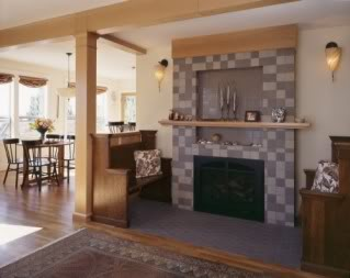 Tile fireplace surround in home