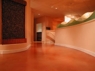 orange stained floor