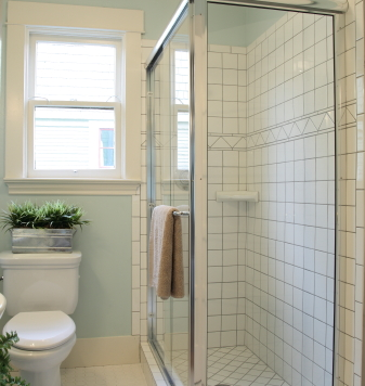 Photo Of Bathroom With White Tile And Blue Walls By Pink Cotton Candy Istockphoto
