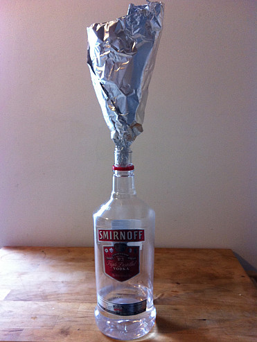 An aluminum foil funnel. Photo by the author, Noah Garfinkel.