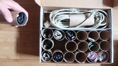 Check out this toilet paper tube cable organizer. Via Lifehacker.