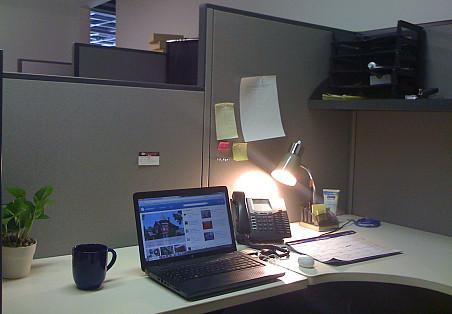 This is my cube after. I feel much more clearheaded and relaxed here now. It cost me a whopping $0 to do this! --Chaya