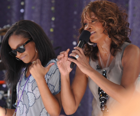Whitney Houston and daughter Bobbi Kristina Brown in 2009 on Good Morning America in Central Park. [Photo via Wikimedia Commons]