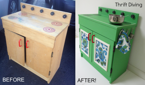 Photo of thrifted play kitchen by Thrift Diving via Hometalk.com.