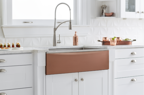 Interchangeable apron farmhouse sink in Sunset/Courtesy of Elkay