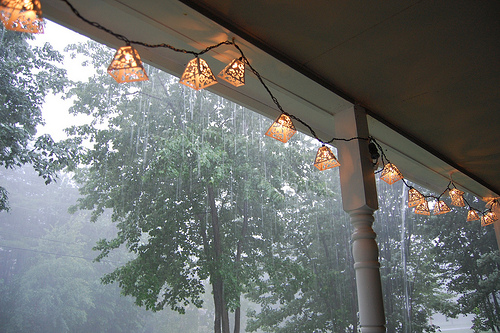 Porch lights in the storm