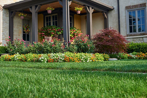 Beautifully tended lawn and garden/courtesy of Scotts Miracle-Gro