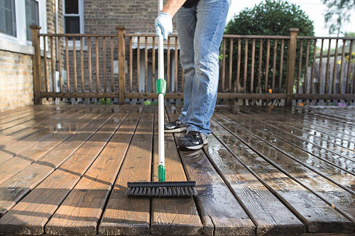 Deck staining prep/courtesy Cabot Stains