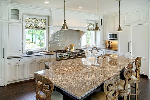 Beautiful brown granite kitchen island / courtesy Coldspring