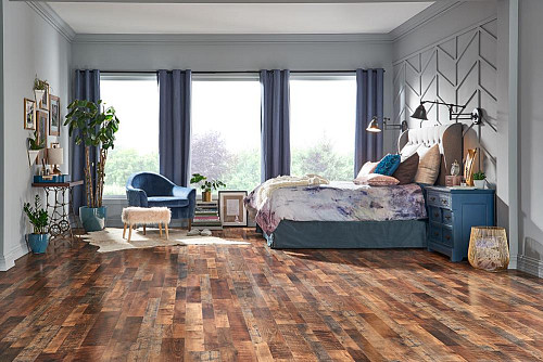 Restoration Oak laminate flooring/courtesy of Lowe's