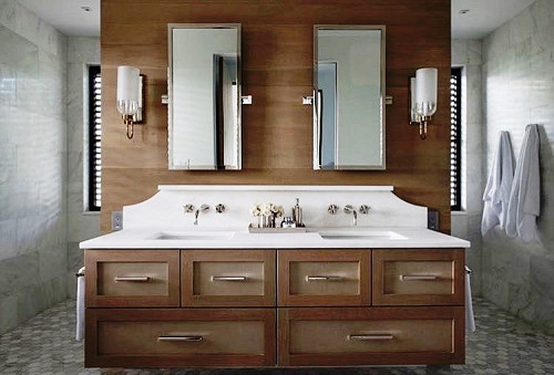 Quartz double sink vanity top/courtesy of Vitoria International