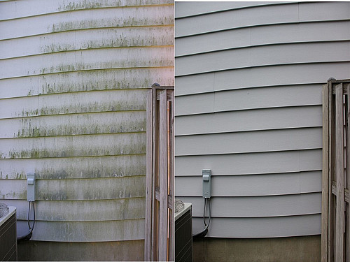Clean siding before and after  East Coast Powerwashing / CC BY-SA