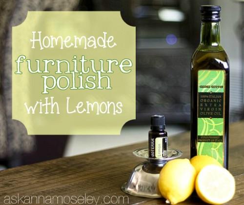Homemade furniture polish with lemons