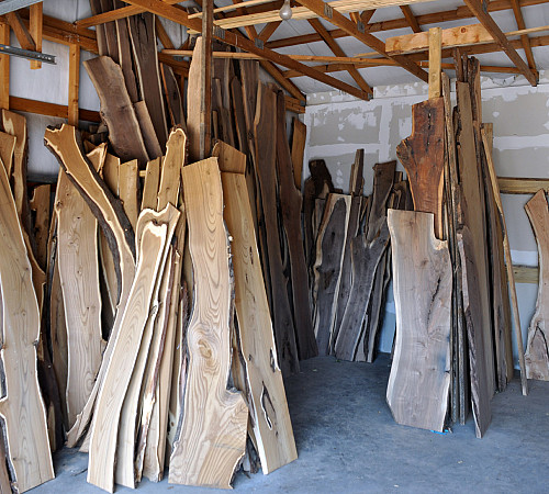 Native edge wood at the lumber yard. Photo by the author.