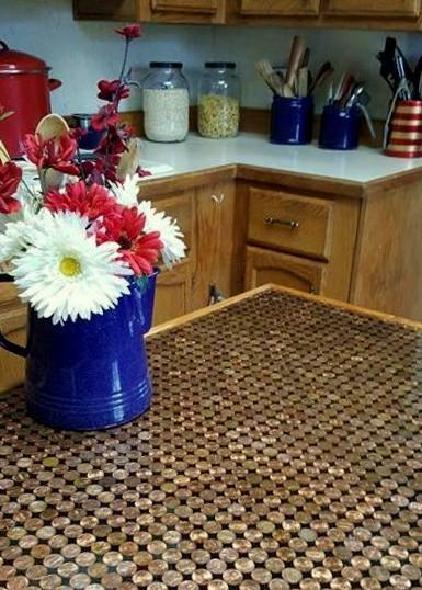 Amazing DIY penny countertop by Ann/Hometalk