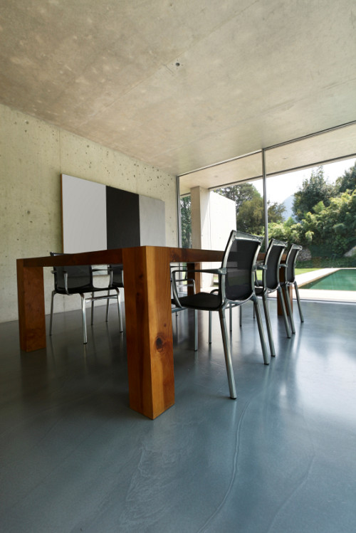 modern concrete floor painted gray