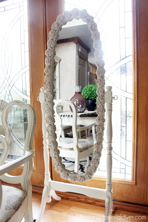 Rosette framed mirror via Hometalk