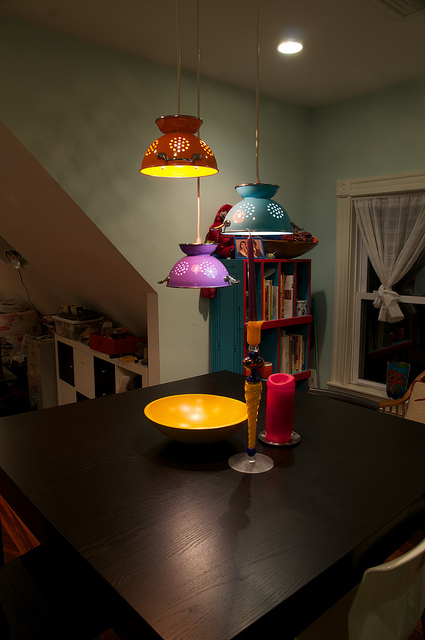 Colander lamps photo by Eric Herot/Flickr Creative Commons.