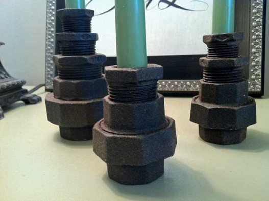 Pipe fitting candle holders by MingledElements.com via Hometalk.com.