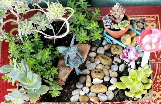Fairy garden and photo by The Crafty Woman via Hometalk.com.