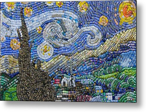 Recycled Night bottle cap art by Aaron Buehring