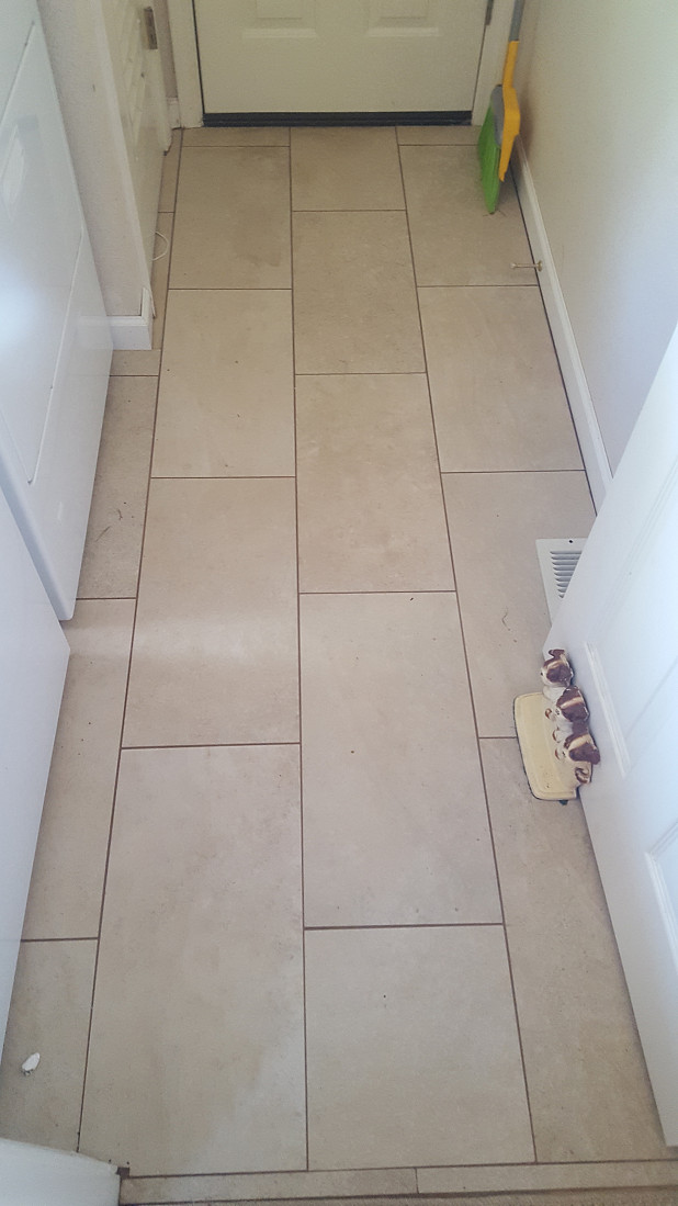 Tile floor in utility room