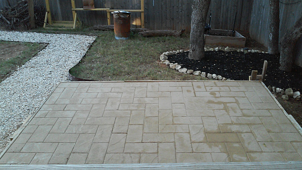 Concrete patio almost completed