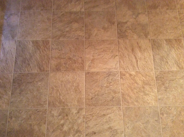 New vinyl tile floor in the kitchen