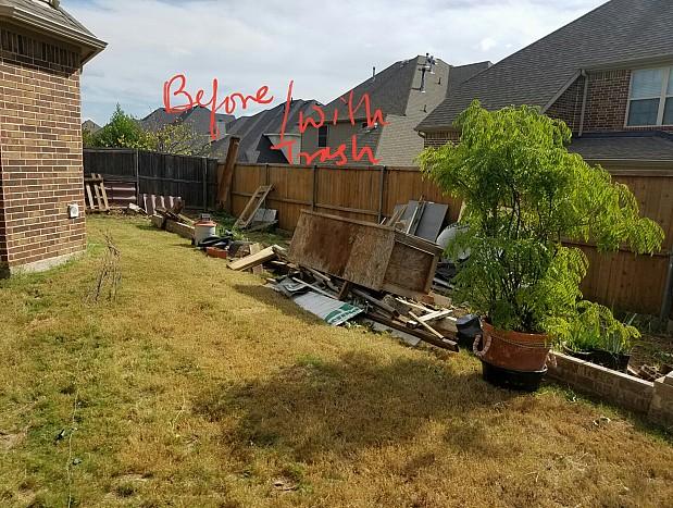 BEFORE Yard full of junk