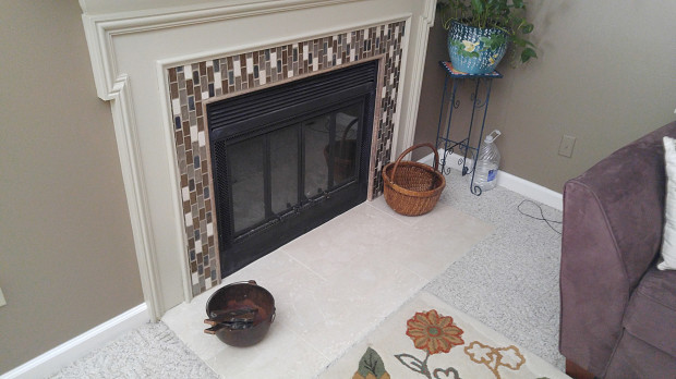 AFTER: New hearth and fireplace mosaic