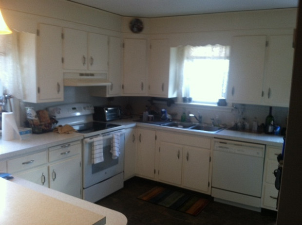 Before: Cabinets were chipped and dull