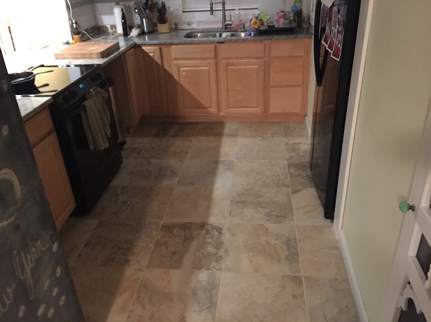 Kitchen showing the new tile floor