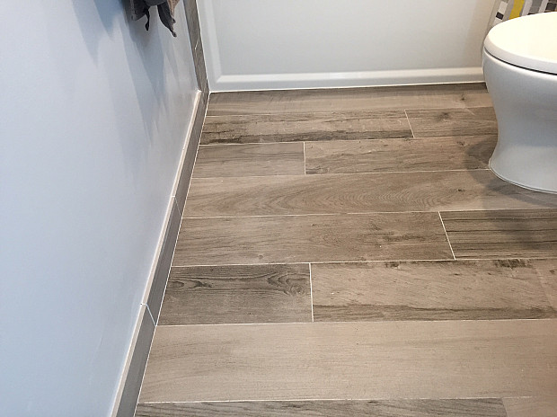 Faux wood porcelain tiles