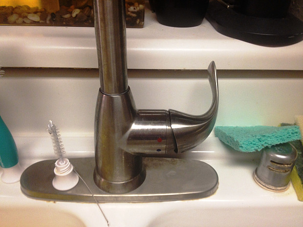 Old faucet had snapped right off