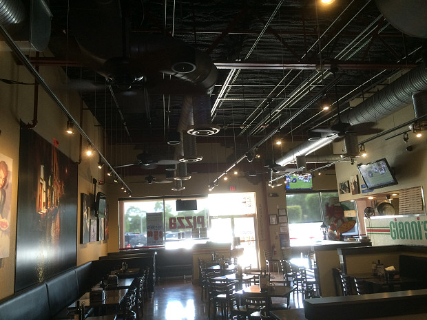 Restaurant ceiling fan installation