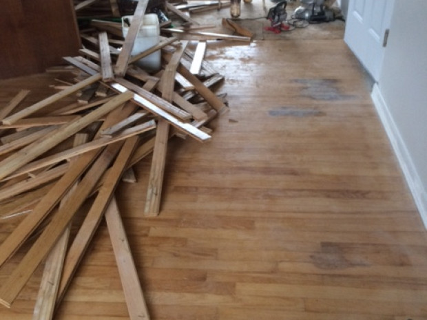 DURING Hardwood floor repair