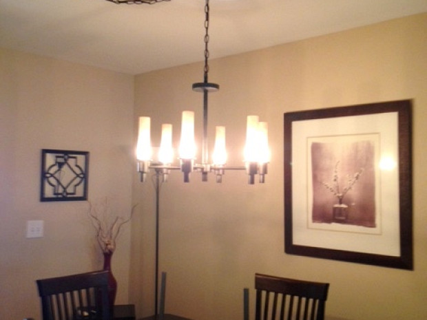 Dining room chandelier installation