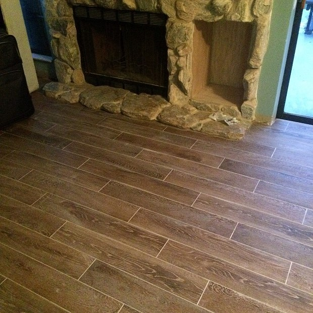Wood plank ceramic floor tile