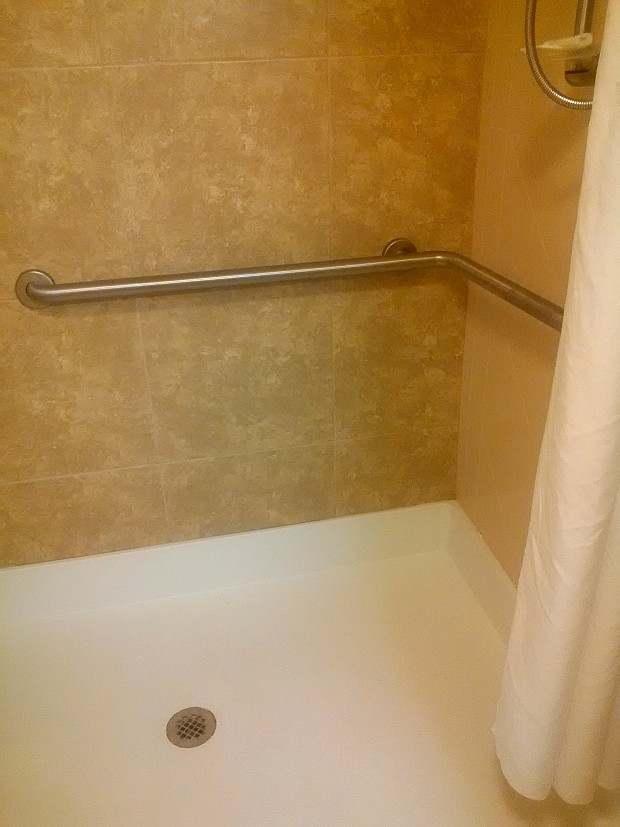 New tile in hotel guest room shower